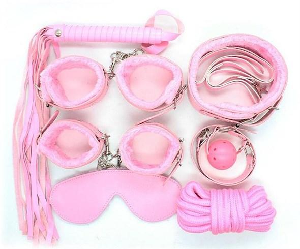 Набор для бондажа 8 предметов розовый - фото 41940