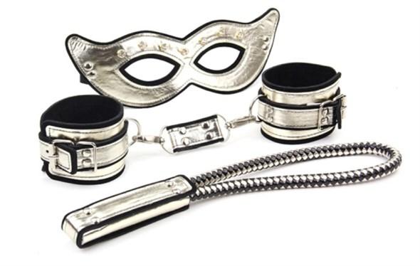 Набор Roomfun маска, наручники, спанкер золотистый - фото 41942
