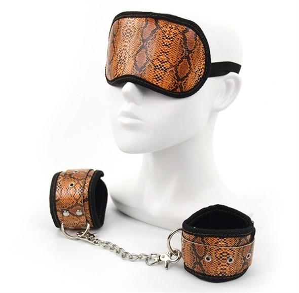 Комплект Roomfun наручники и маска  из искуственной кожи питона - фото 41943