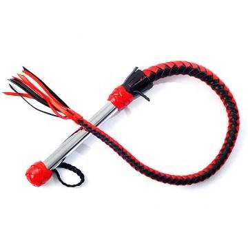 Кнут черно-красный с металлической рукоятью - фото 41956