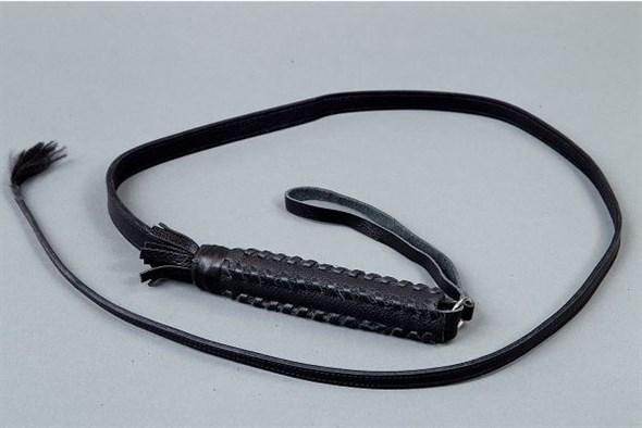 Хлыст с плетеной рукоятью, черная кожа, 1200мм - фото 42080