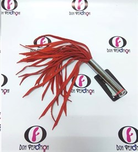 Флогер SCALA генитальный со средней рукоятью, красная кожа - фото 42154