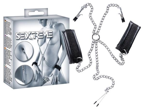 Зажимы для сосков и половых губ с наручниками - фото 42213