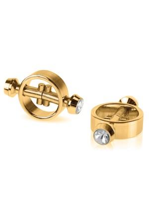 Зажимы на соски FF Gold на магните с кристаллами - фото 42245