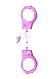 Металлические наручники Shots Toys розовые - фото 42314