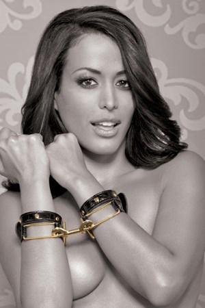 Наручники FF #Gold Cuffs черные с золотом - фото 42372