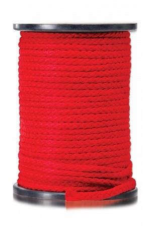 Бондажная веревка для шибари красная, 61м - фото 42381
