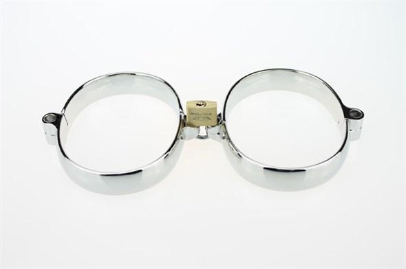 Наручники металлические на жесткой сцепке, широкие - фото 42406