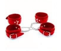 Бондаж крестовый наручники+поножи красный, искусственная кожа - фото 42426