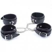 Бондаж крестовый наручники+поножи черный, искусственная кожа - фото 42427
