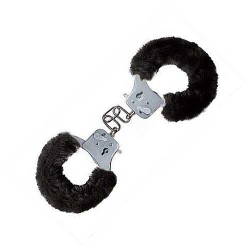 Наручники Furry Fun с мехом черные - фото 42467