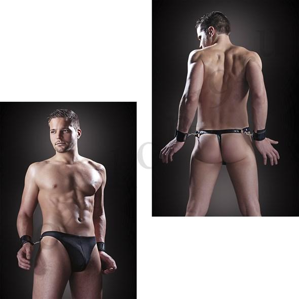 """Стринги FF """"Раб"""" с наручниками черные, S/M - фото 42481"""