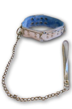Ошейник с поводком серебро, с голубым мехом - фото 42620