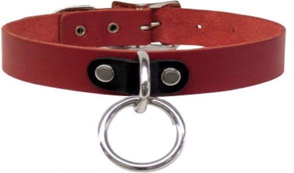 Ошейник красный с соединительным кольцом - фото 42703