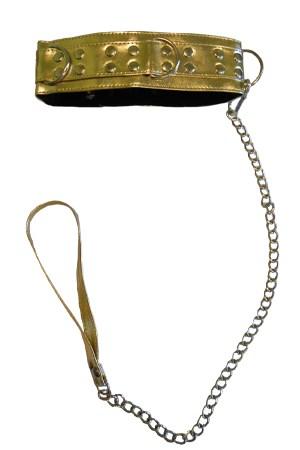 Ошейник с поводком золотой, с черным мехом - фото 42736