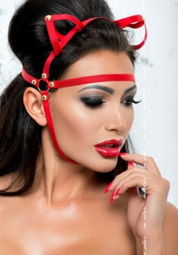 Маска с ушками из стреп лент Me Seduce, красная - фото 42790