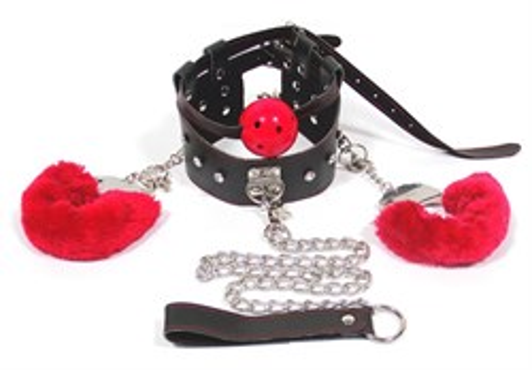 Комплект бондажа Roomfun кляп с наручниками на поводке, черно-краный - фото 42809
