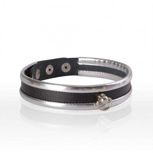 Чокер #Серебро из черной кожи с серебряной кромкой и кольцом - фото 42837