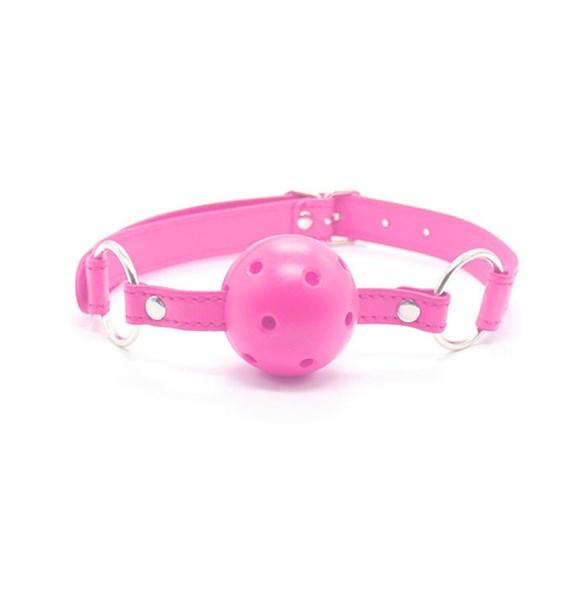 Кляп дышащий на ремне из искусственной кожи, розовый, диаметр 4,5см - фото 42862