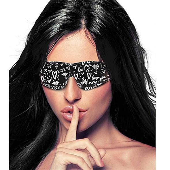 Маска для глаз закрытая OUCH! Love Street Art Fashion черно-белая - фото 42867