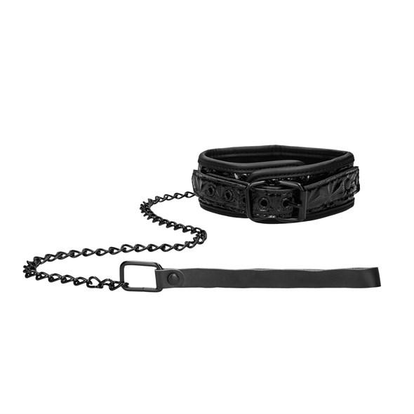 Ошейник Ouch! Luxury Collar with Leash на поводке, черный - фото 42868