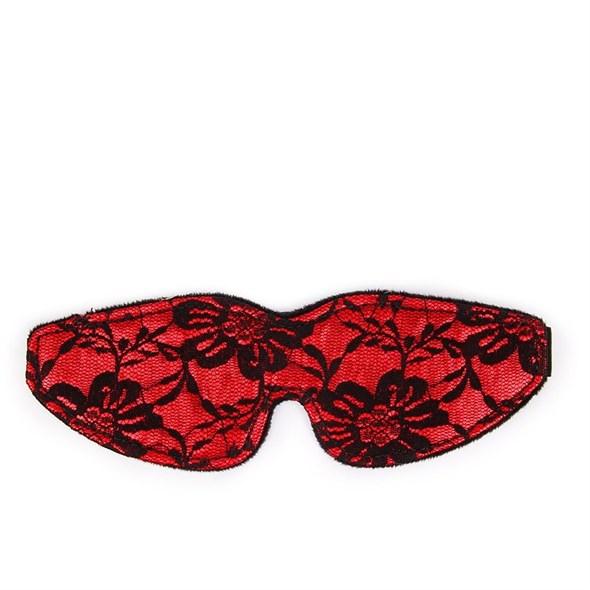 Маска на глаза красная с черным кружевом и меховой подкладкой - фото 42887