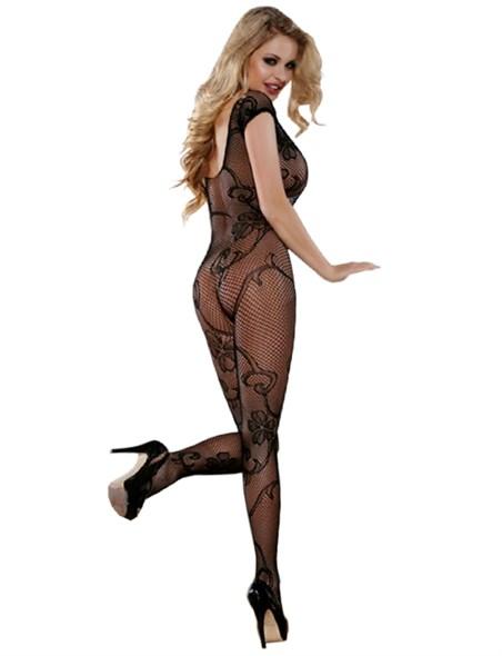Боди-комбинезон Sexy Lingerie, сетка и цветочный узор, доступ, чёрный, размер OS - фото 43654