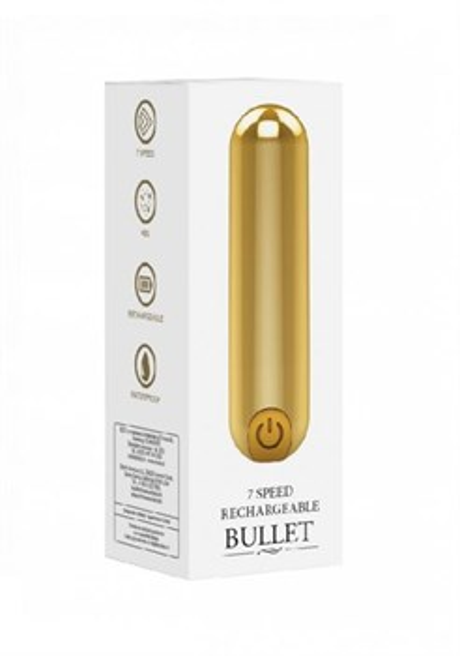 Перезаряжаемая вибропуля BGT 7 Speed Rechargeable Bullet, золотистая - фото 46457