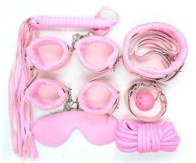 Набор для бондажа 8 предметов розовый