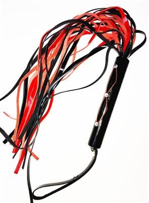 Плеть со стразами на рукояти черно-красный лак, 24 хвоста