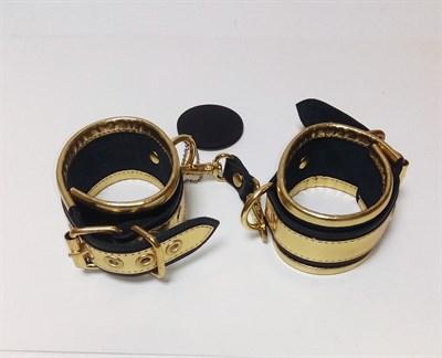 Наручники #Gold из черной кожи с золотыми элементами