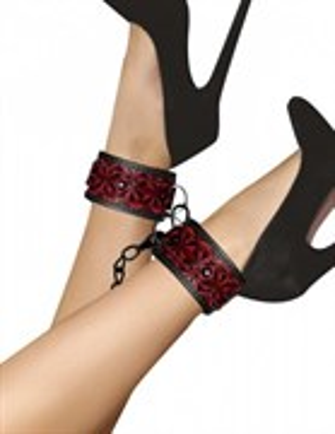 Наножники OUCH!  Luxury Ankle Cuffs черно-красные
