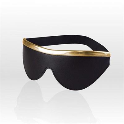 Маска #Gold из черной кожи с золотой кромкой