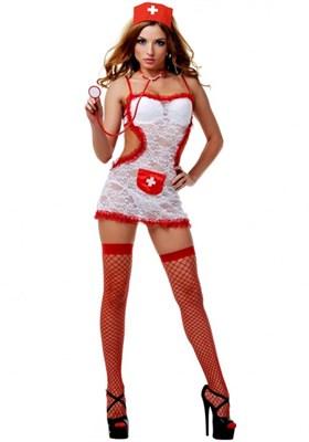 """Костюм """"Соблазнительная медсестра"""" кружевной бело-красный, L/XL  Le Frivole"""