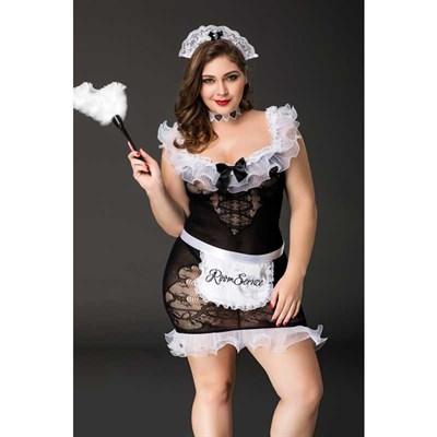 Костюм горничной Candy Girl Fanny, черно-белый - 2XL