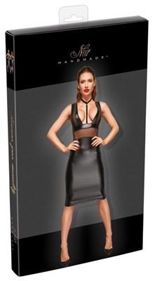 Платье Noir с ошейником облегающее до колен черное, S