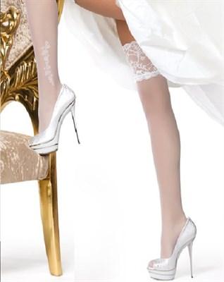 Чулки женские свадьба, PLEASURE 20 bianco, L/XL