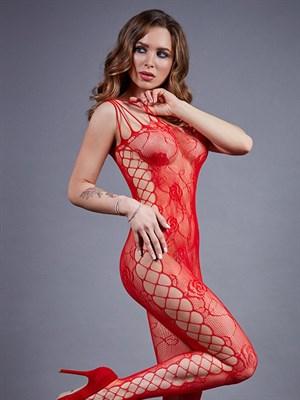 Чулок на тело сетка красный с боковой полосой Impulse SL, Le Frivole