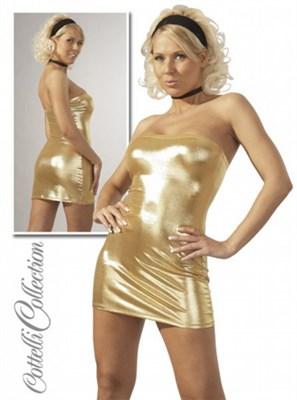 Платье -  туба золотое L