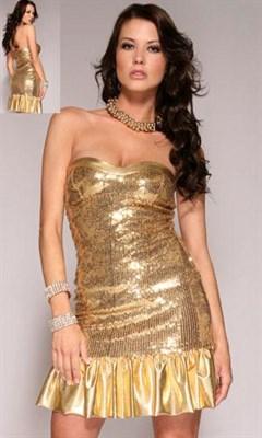 """Платье """"Gold Rush"""" золотое, ХS"""