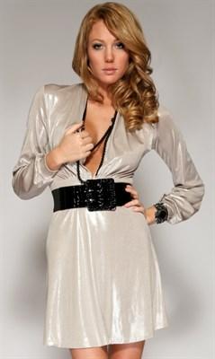 Agate платье бежево-серебристое, S