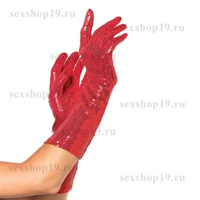 Перчатки в пайетках, красные