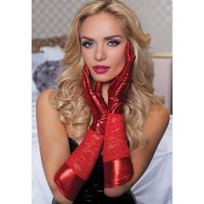 Перчатки до локтя комбинированные красные