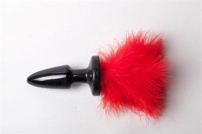 Плуг черный силикон с красным хвостом Марабу