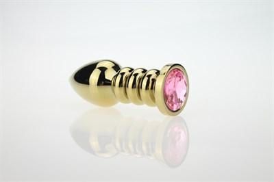 Плаг-спираль золото, кристалл розовый 100*35мм