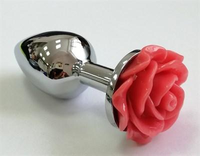 Плаг-стоппер серебро, роза алая 75*28мм