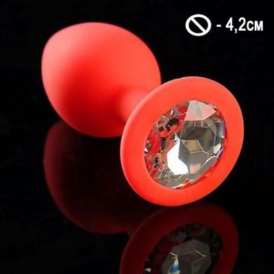 Втулка красный силикон с белым кристаллом, L-4,2см, 74гр