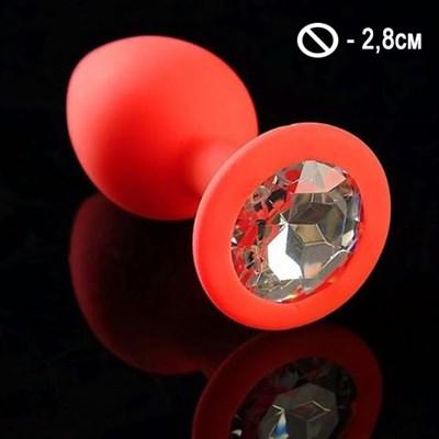 Втулка красный силикон с белым кристаллом, S-2,8см, 26гр