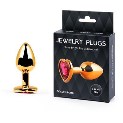 Плаг золотой,с ограничителем в виде сердца рубинового цвета «Golden Plug Small» 7*2.8 см