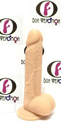 Фаллос с мошонкой на присоске телесный, 18,2*3,6см
